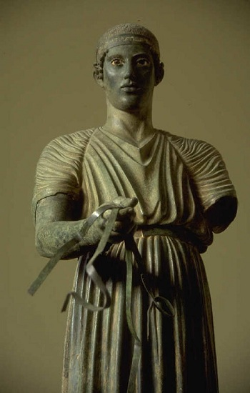 The Charioteer of Delphi, bronze statue, early 5th C BCE.  Photo (c) Hemera Technologies 2001-2003
