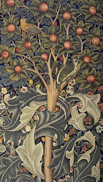 Detail of Woodpecker tapestry designed by William Morris (1885). (from Wikimedia Commons)